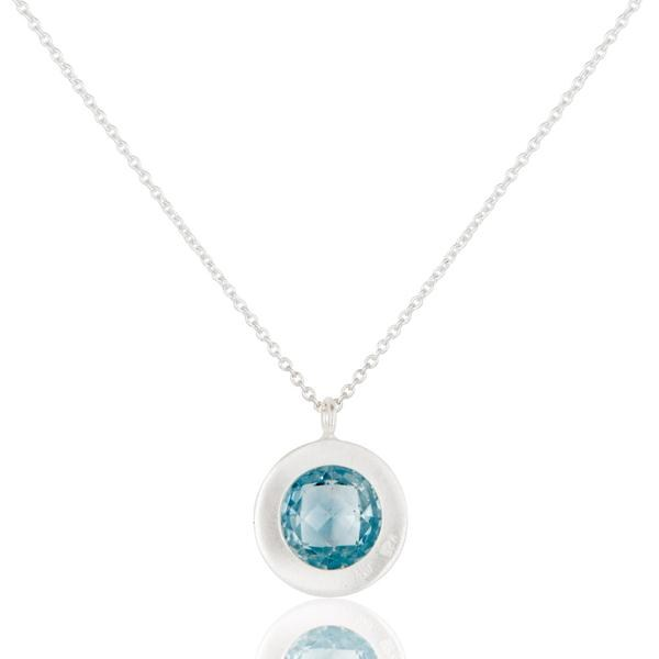 Suppliers Blue Topaz & White Topaz Gemstone Chain Pendant With Solid 925 Sterling Silver