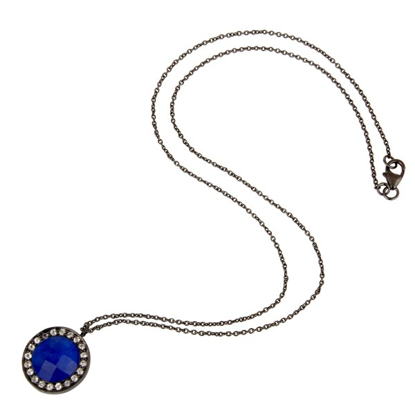 Suppliers Oxidized Sterling Silver Blue Aventurine And White Topaz Pendant With Chain