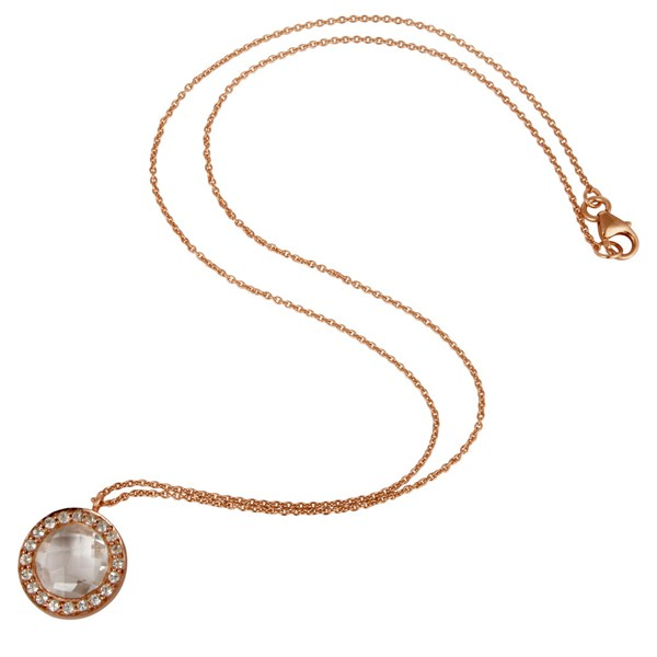 Suppliers 18K Rose Gold Plated Silver Crystal Quartz And White Topaz Pendant With Chain