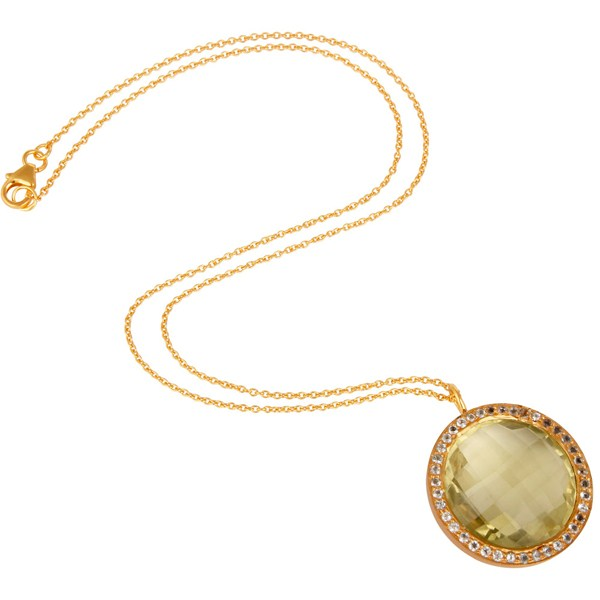Suppliers Lemon Topaz and White Topaz 18K Gold Plated Sterling Silver Pendant Necklace