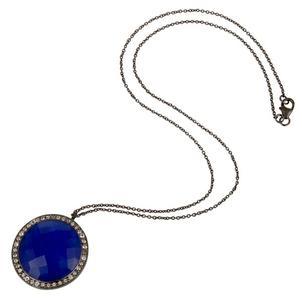 Suppliers Sterling Silver With Oxidized Blue Aventurine And White Topaz Pendant With Chain