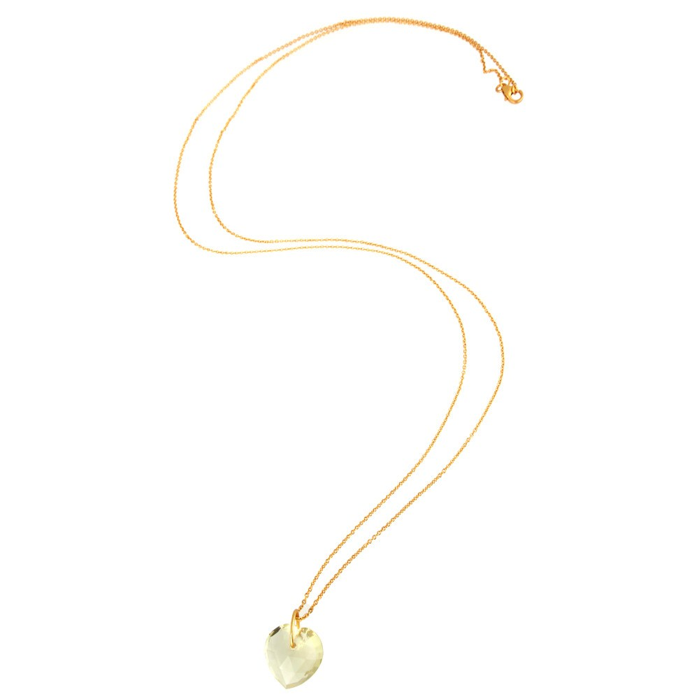 Suppliers 18K Yellow Gold Over Sterling Silver Lemont Topaz Heart Pendant With Chain