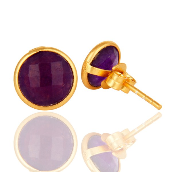 Faceted Purple Chalcedony Gemstone Stud Earrings In 14K Gold On Sterling Silver From Jaipur India