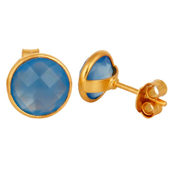 Faceted Dyed Chalcedony Stone Sterling Silver Round Stud Earrings - Gold Plated From Jaipur India