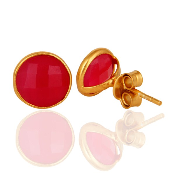 Suppliers Dyed Pink Chalcedony Gemstone Stud Earrings In 18K Gold Over Sterling Silver