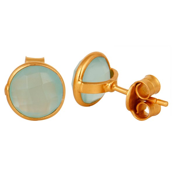 Suppliers 18K Yellow Gold Plated Sterling Silver Dyed Aqua Chalcedony Womens Stud Earrings