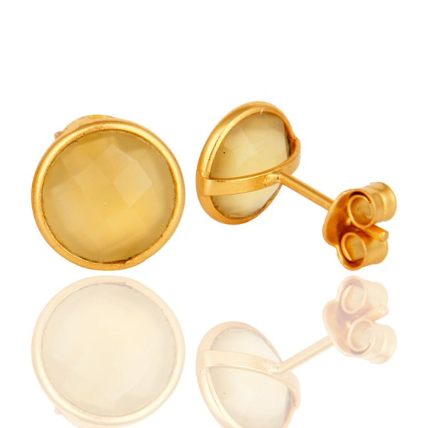 Suppliers Yellow Chalcedony Faceted Gemstone Stud Earrings IN 22K Gold Plated On Silver