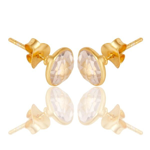 Suppliers 14K Yellow Gold Plated 925 Sterling Silver Handmade Rose Quartz Studs Earrings