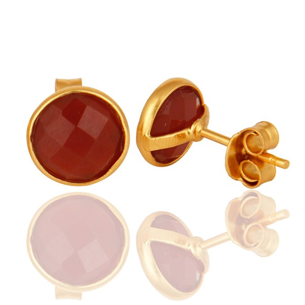 Suppliers 18K Yellow Gold Over Sterling Silver Red Onyx Gemstone Stud Earrings