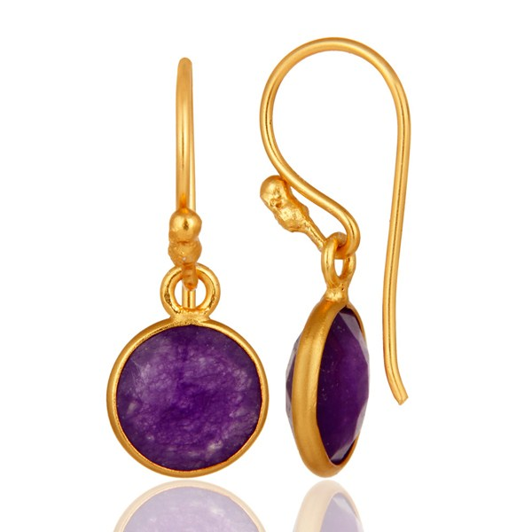 Suppliers 18K Gold Over Sterling Silver Bezel-Set Purple Chalcedony Drop Hook Earrings