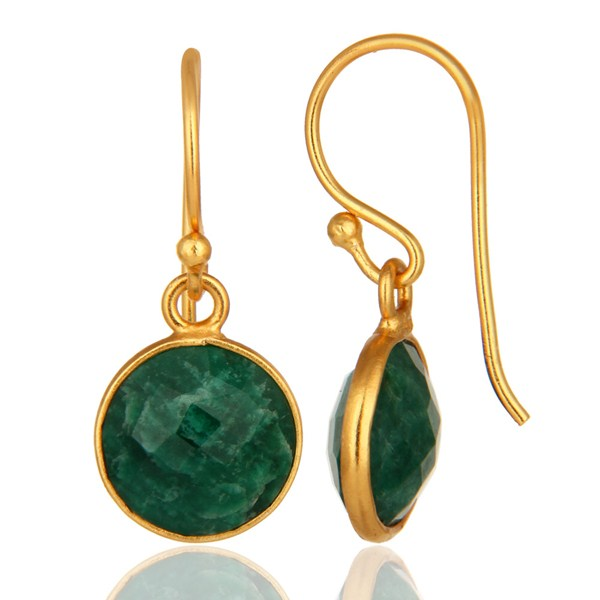 Suppliers Faceted Dyed Emerald 18K Plated Gold or Sterling Silver Bezel Set Earrings
