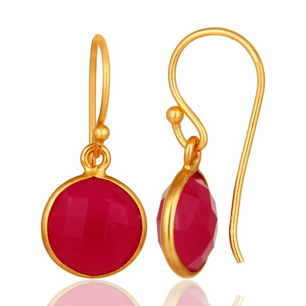 Suppliers Dyed Pink Chalcedony Sterling Silver Bezel Set Drop Earrings - Gold Plated