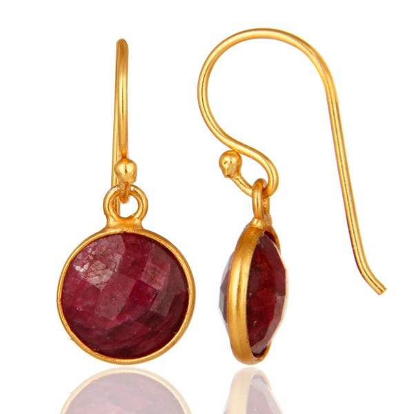 Suppliers Faceted Red Ruby Corundum Bezel-Set Sterling Silver Earrings With Gold Plated