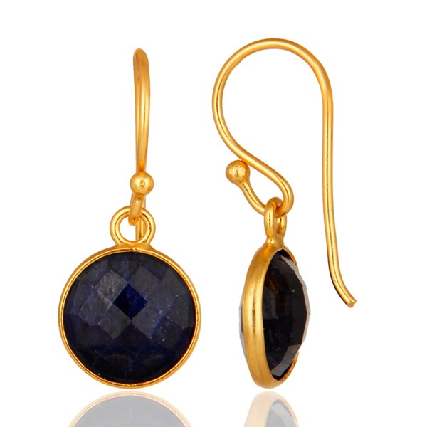 Suppliers Dyed Blue Sapphire Gold Plated Sterling Silver Bezel Set Gemstone Earrings