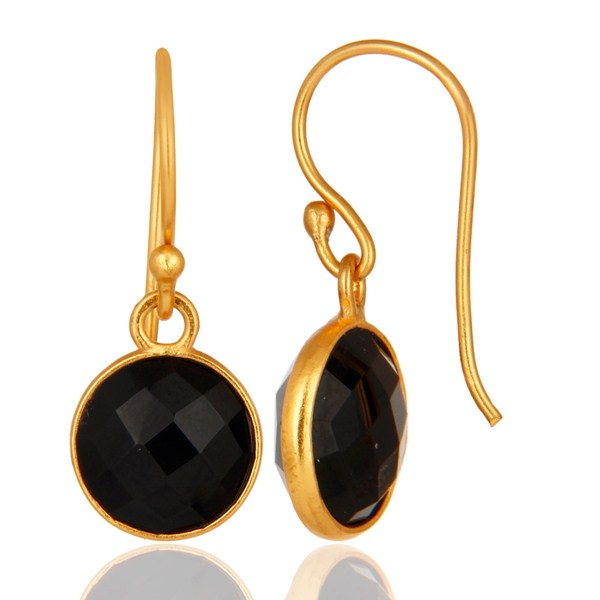 Suppliers Faceted Black Onyx Gemstone Sterling Silver Dangle Earrings With Gold Plated