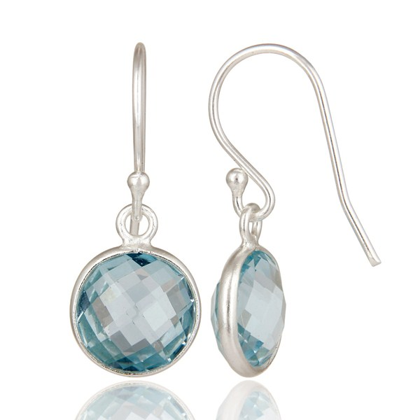 Suppliers 925 Sterling Silver Blue Topaz Gemstone Bezel Set Dangle Earrings