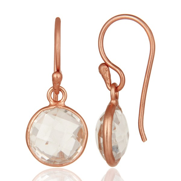Suppliers 18K Rose Gold Plated Sterling Silver Crystal Quartz Bezel Set Dangle Earrings