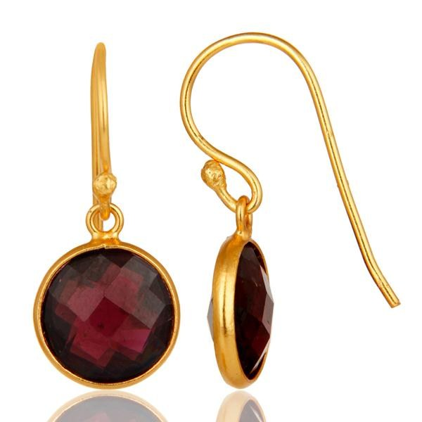 Suppliers 18k Gold Plated With Sterling Silver Garnet Round Cut Bezel Set Dangle Earrings