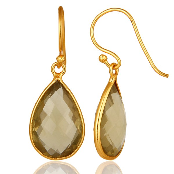 Suppliers Natural Lemon Topaz Bezel-Set Gemstone Drop Earrings In 18K Gold Over 925 Silver