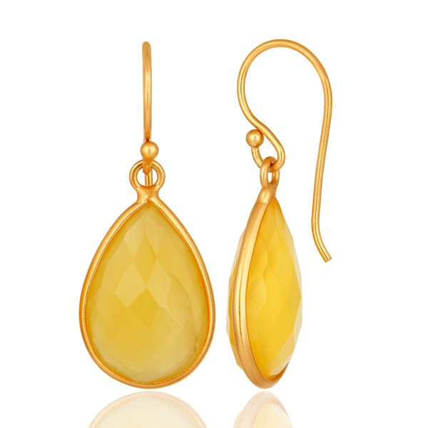 Suppliers Gold Plated Sterling Silver Yellow Chalcedony Framed Gemstone Drop Earrings