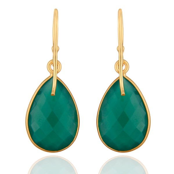 Suppliers 925 Sterling Silver Faceted Green Onyx Gemstone Drop Earrings - Gold Plated