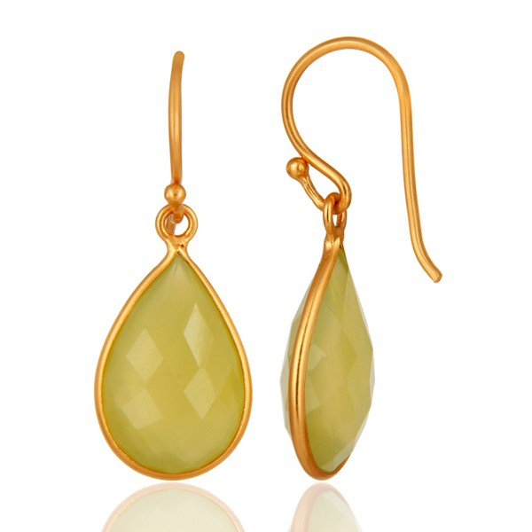 Green Chalcedony Gemstone Drop Earrings In 18K Gold Over Sterling Silver From Jaipur India