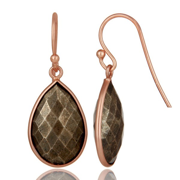 Suppliers 18K Rose Gold Plated Sterling Silver Golden Pyrite Bezel Set Teardrop Earrings