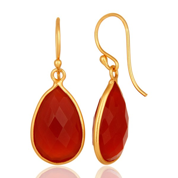 Suppliers Natural Red Onyx Gold Plated Sterling Silver Bezel-Set Gemstone Drop Earrings