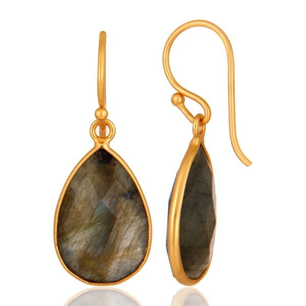 18K Yellow Gold Plated Sterling Silver Labradorite Bezel Drop Earrings From Jaipur India