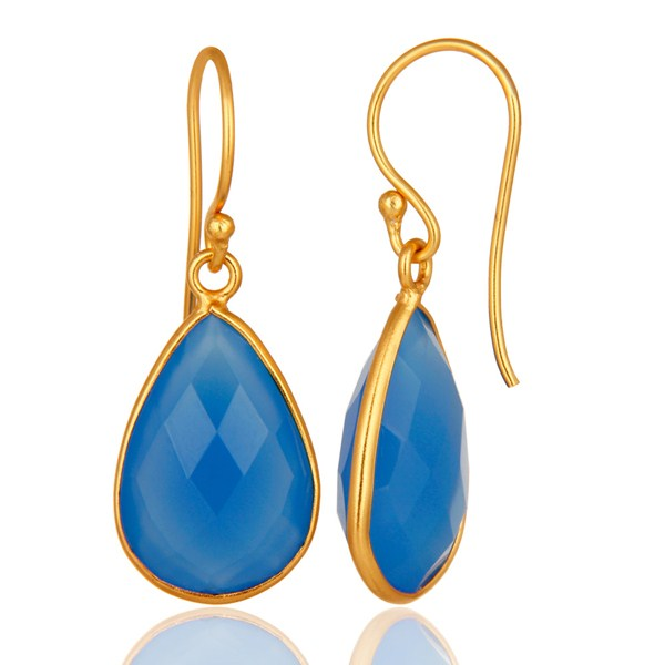 Suppliers 18K Gold Plated Sterling Silver Bezel-Set Chalcedony Faceted Gemstone Earrings