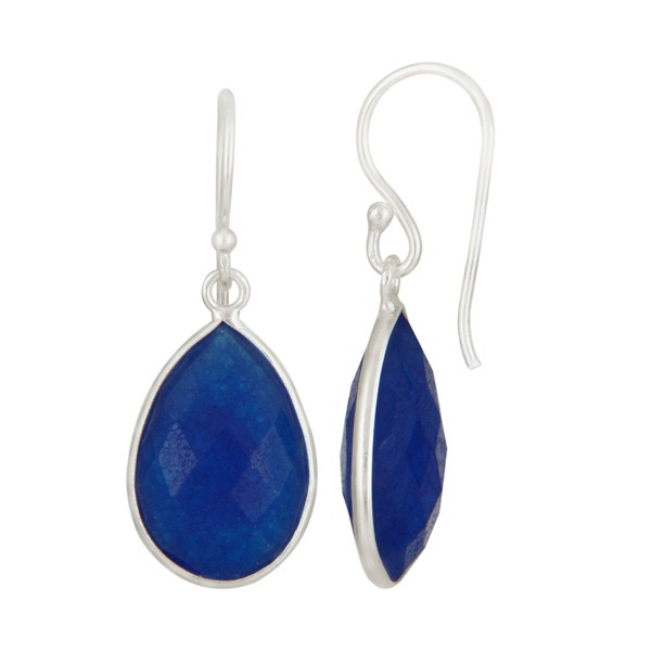 925 Sterling Silver Blue Aventurine Faceted Gemstone Drop Earrings From Jaipur India