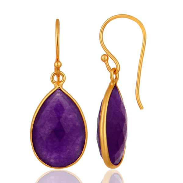 Aventurine Amethyst Gemstone Bezel Drop Earrings In 18K Gold Over Silver From Jaipur India