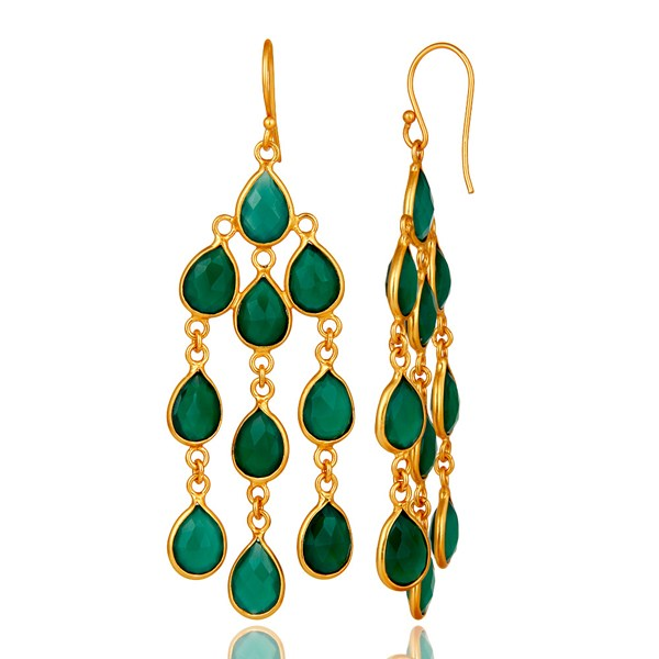 Suppliers 18K Yellow Gold Plated Sterling Silver Green Onyx Bezel Set Chandelier Earrings