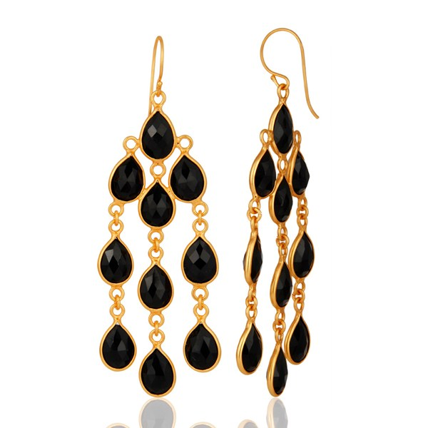 18K Yellow Gold Plated Sterling Silver Black Onyx Chandelier Earrings From Jaipur India