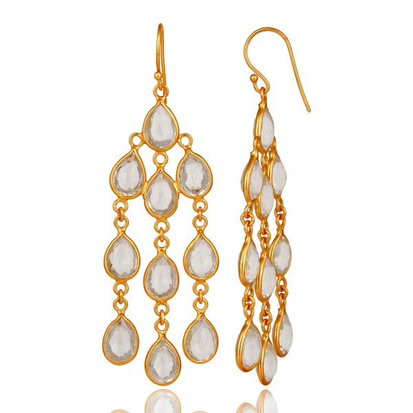 Suppliers 18K Yellow Gold Plated Sterling Silver Crystal Quartz Bridal Chandelier Earrings