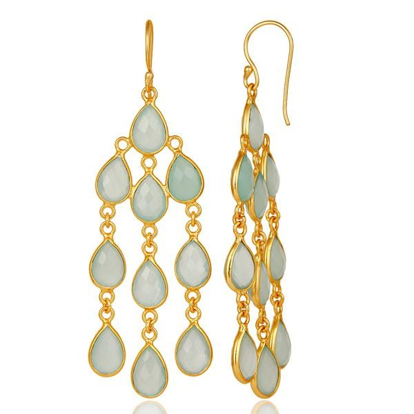 Suppliers 18K Yellow Gold Plated Sterling Silver Dyed Chalcedony Gemstone Dangle Earrings