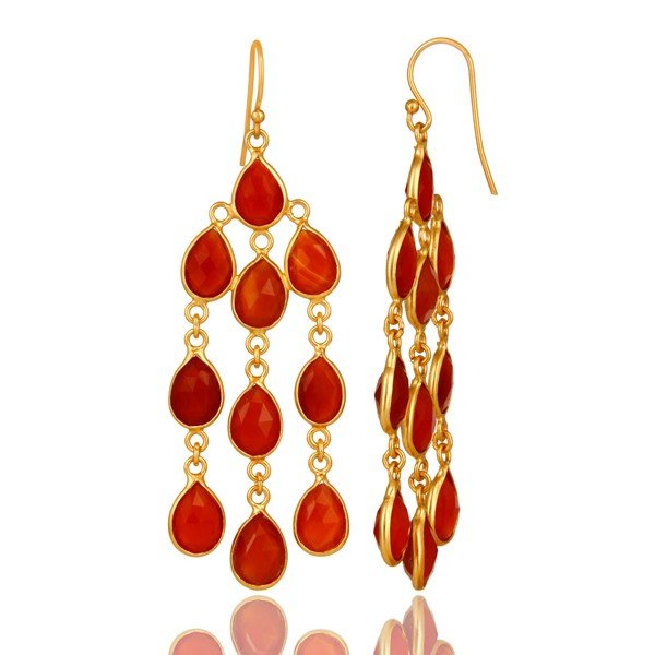 Suppliers 18K Yellow Gold Plated Sterling Silver Red Onyx Gemstone Chandelier Earrings