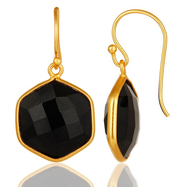 Suppliers 18K Yellow Gold Plated Sterling Silver Black Onyx Gemstone Drop Earrings