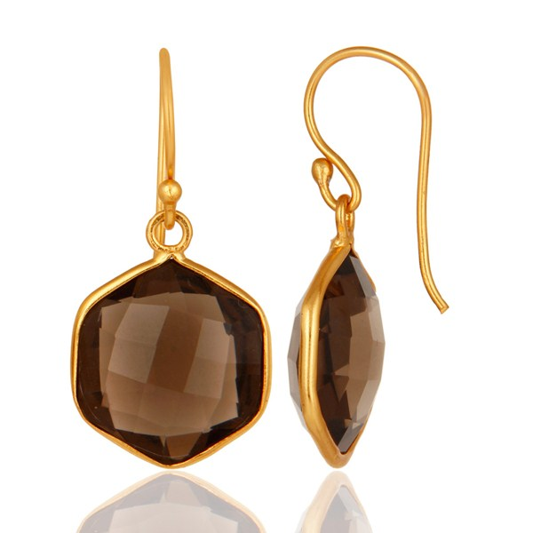 Suppliers Smoky Quartz Faceted Hexagon Shaped 18K Gold On Sterling Silver Dangle Earrings