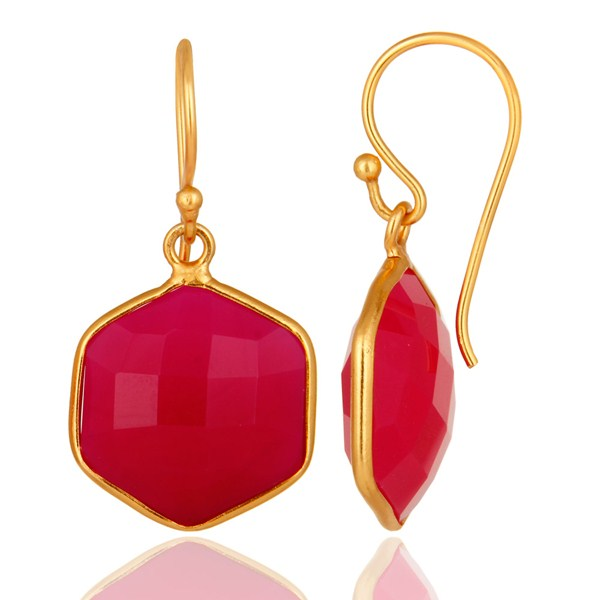 Suppliers 18K Gold On Sterling Silver Faceted Dyed Pink Chalcedony Bezel-Set Drop Earrings
