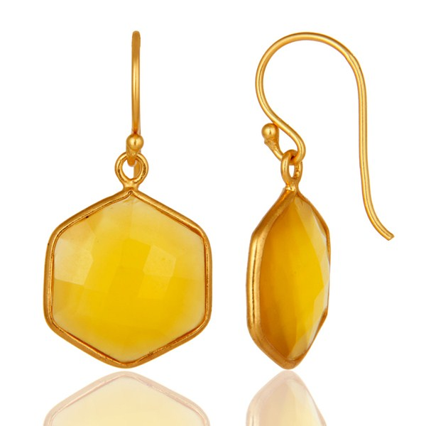 Suppliers Bezel-Set Yellow Chalcedony 18K Gold Plated Sterling Silver Drop Earrings