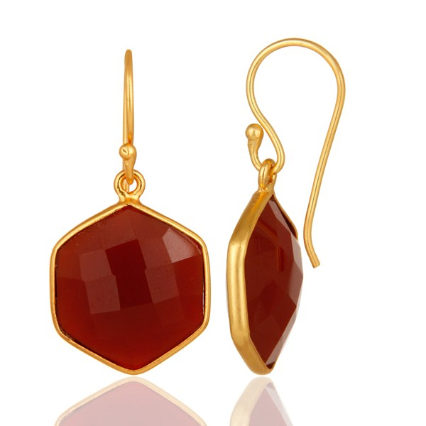 Suppliers 22ct Gold Plated Sterling Silver Faceted Red Onyx Hexagonal Drop Earrings