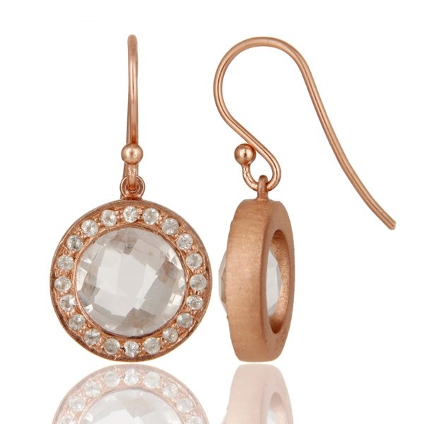 Suppliers 18K Rose Gold Plated Sterling Silver Crystal Quartz & White Topaz Dangle Earring