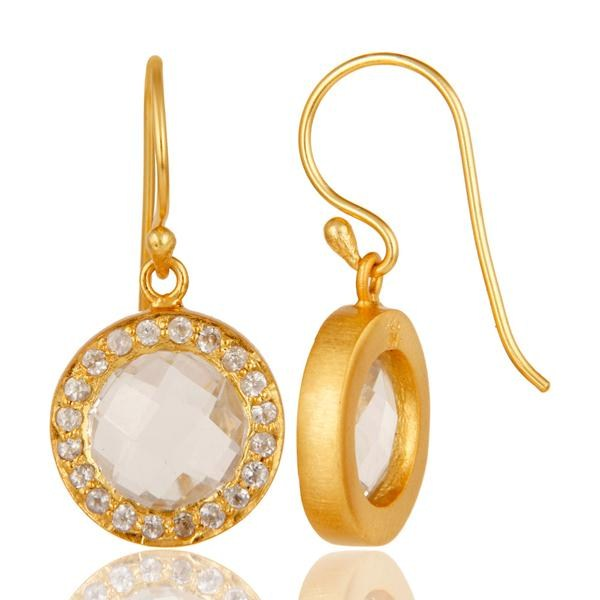 Suppliers 18K Gold Plated Sterling Silver Crystal Quartz & Topaz Halo Style Drop Earrings