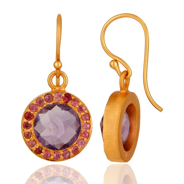 Suppliers 925 Sterling Silver Amethyst Gemstone Dangle Earring With 18K Gold Plated