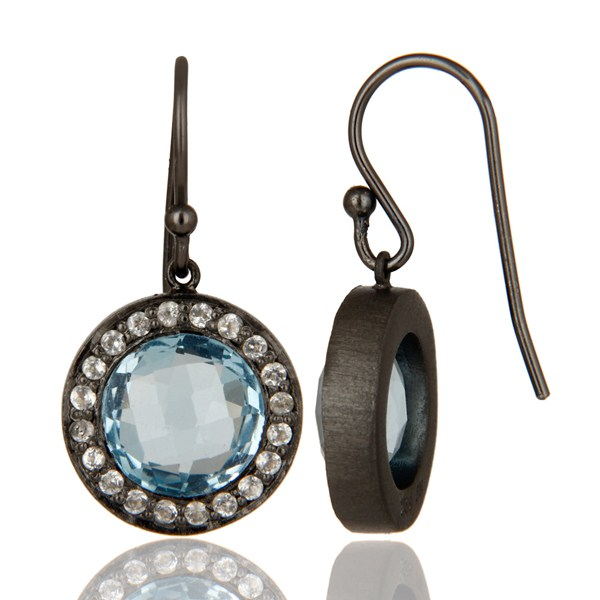 Suppliers Oxidized Sterling Silver Blue Topaz And White Topaz Halo Dangle Earrings