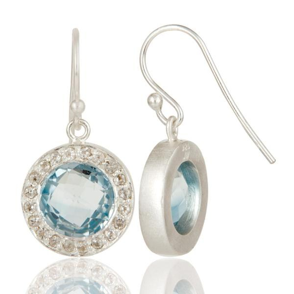Suppliers Solid 925 Sterling Silver Blue Topaz And White Topaz Halo Dangle Earrings