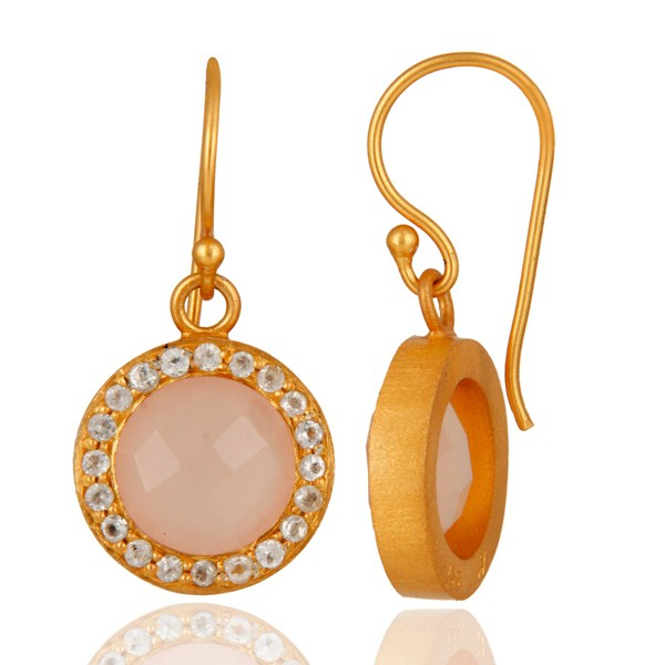 18K Yellow Gold Plated Sterling Silver Chalcedony And White Topaz Halo Earrings From Jaipur India