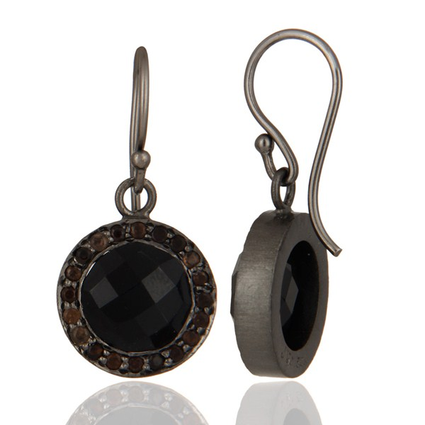 Oxidized Sterling Silver Black Onyx And Smoky Quartz Gemstone Halo Drop Earrings From Jaipur India