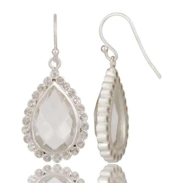 Suppliers Solid 925 Sterling Silver Crystal Quartz & White Topaz Teardrops Earrings